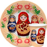 """Посуда бумажная с дизайном """"Матрешки"""""""