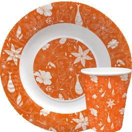 """Посуда бумажная с дизайном """"Оранжевые цветы"""""""